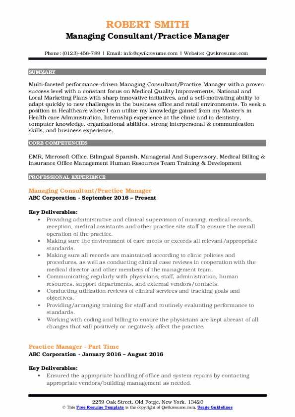 practice manager resume samples