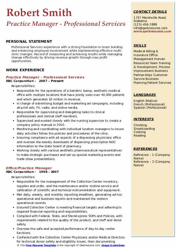 Practice Manager - Professional Services Resume Sample