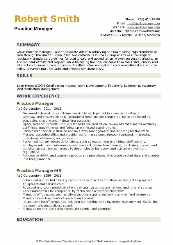 Practice Manager Resume example