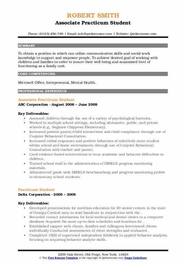 practicum student resume samples  qwikresume