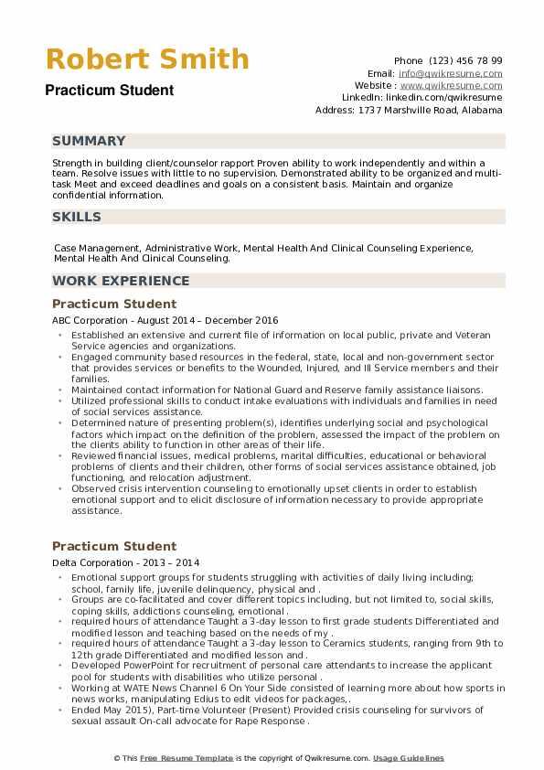 Practicum Student Resume example