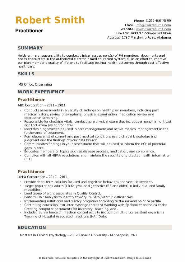 Practitioner Resume example