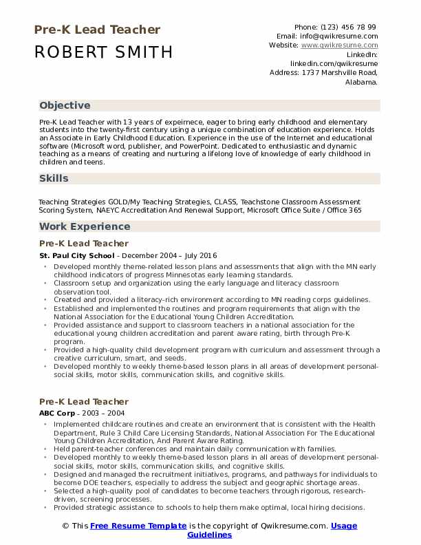 Pre-K Lead Teacher Resume Format
