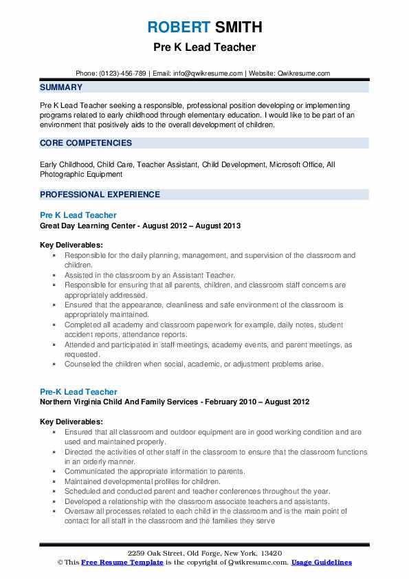 Pre K Lead Teacher Resume Format