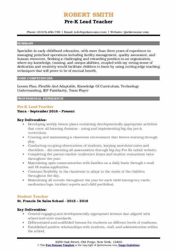 Pre-K Lead Teacher Resume Model
