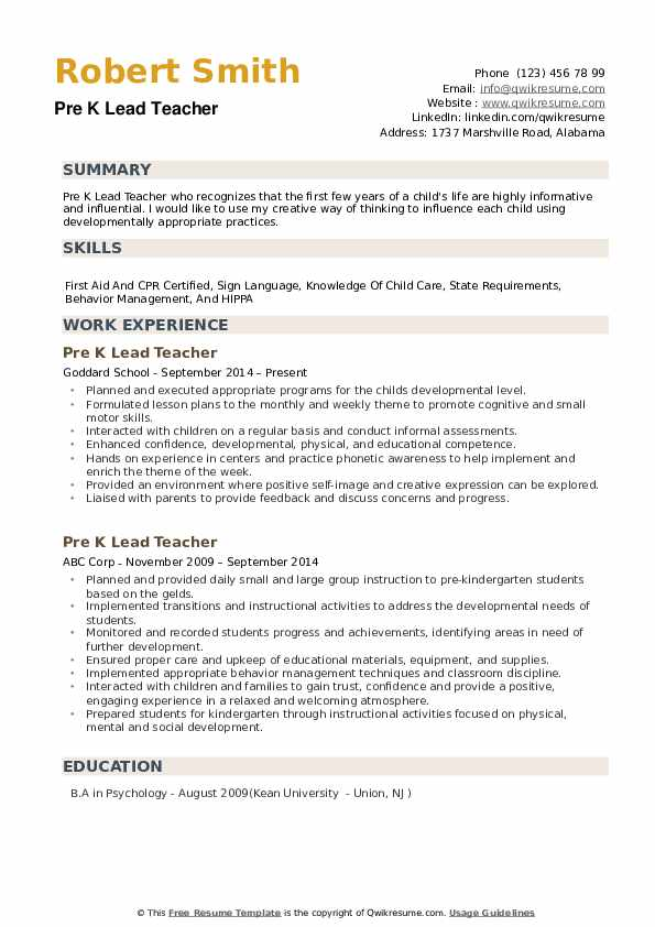 pre k lead teacher resume samples