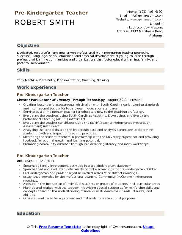 pre kindergarten teacher resume samples