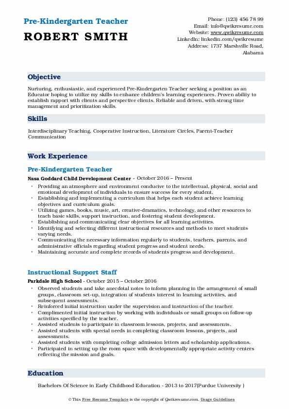 Pre Kindergarten Teacher Resume Example