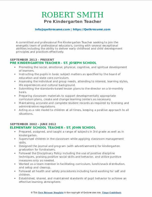 Pre Kindergarten Teacher Resume Format