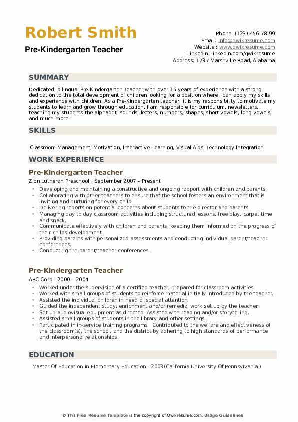 ssurvivor  cv english kindergarten teacher