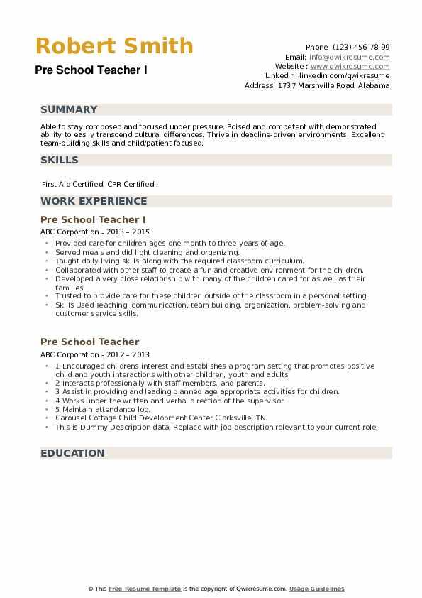 Pre School Teacher Resume example