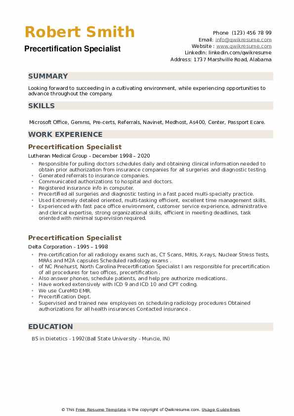 Precertification Specialist Resume example