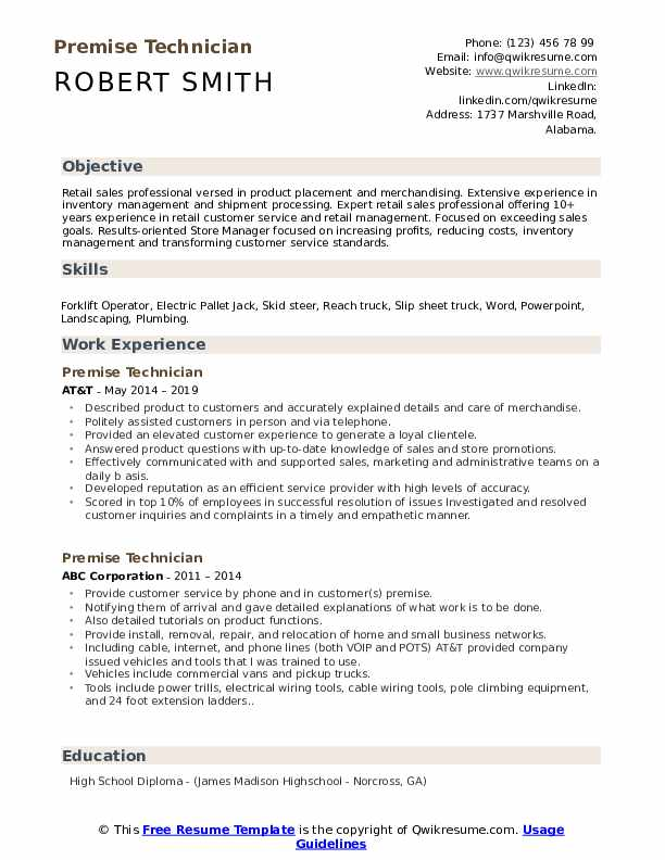 Premise Technician Resume Format