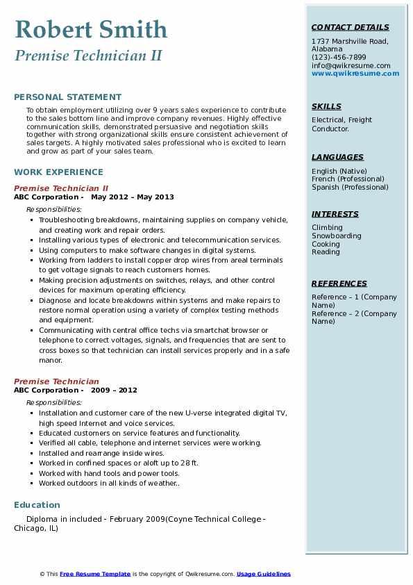 Premise Technician II Resume Format