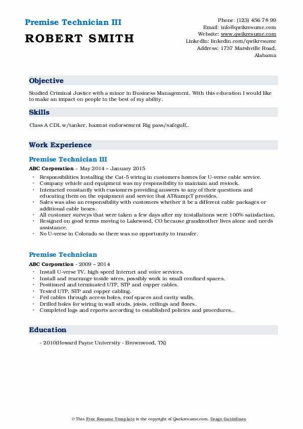 Premise Technician III Resume Template