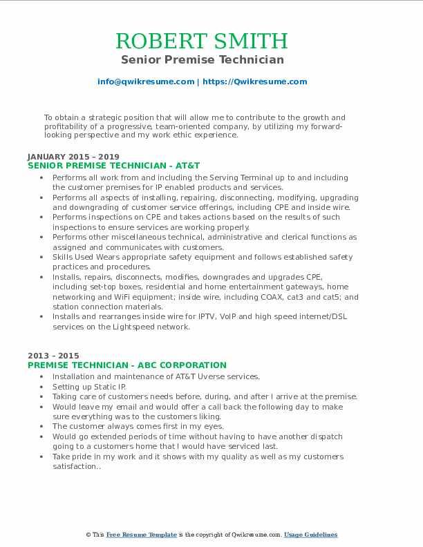 Senior Premise Technician Resume Example