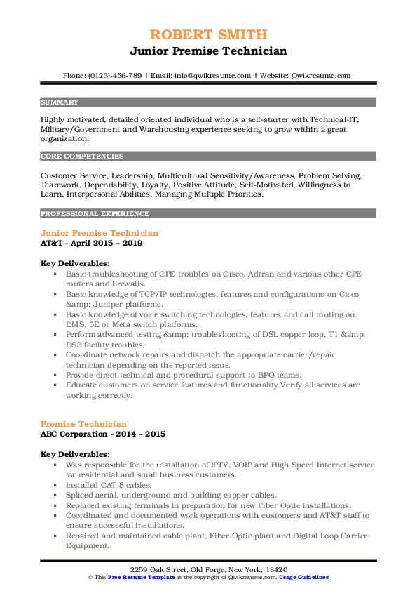Junior Premise Technician Resume Sample