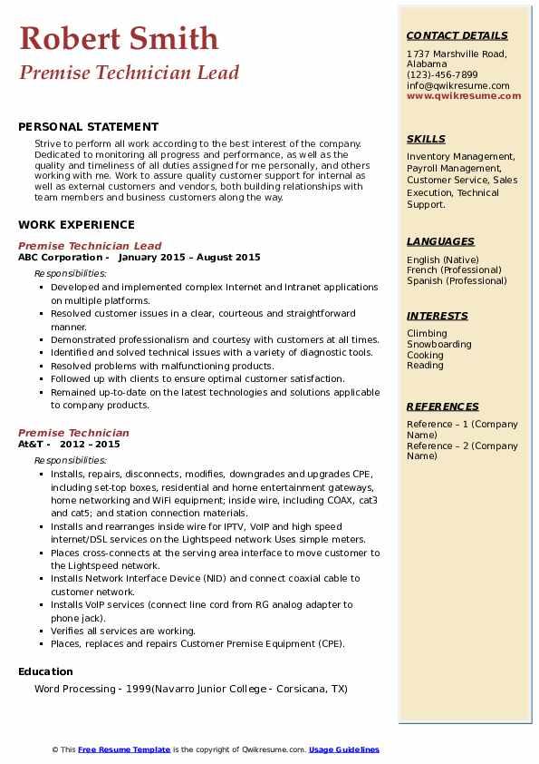 Premise Technician Lead Resume Example
