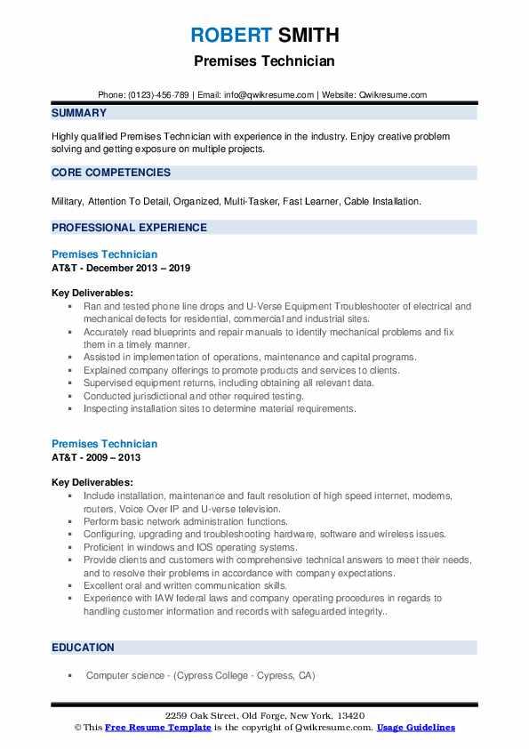 Premises Technician Resume example