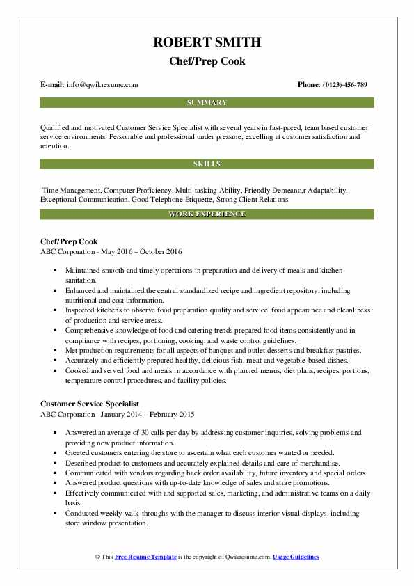 Chef/Prep Cook Resume Template
