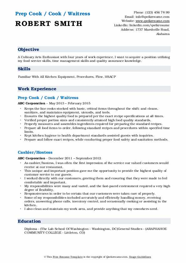 Prep Cook / Cook / Waitress Resume Format