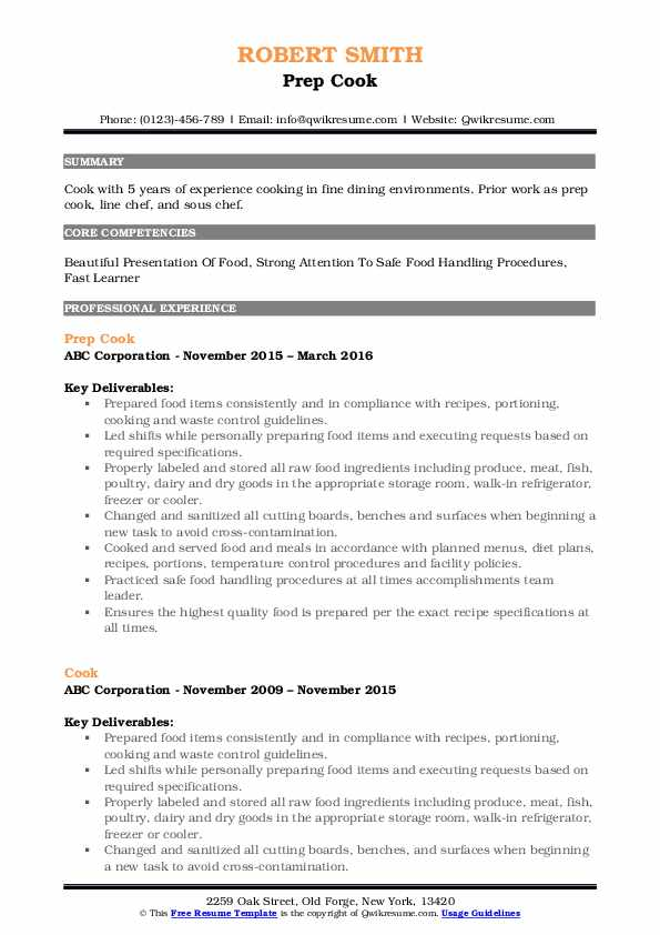 Prep Cook Resume Template