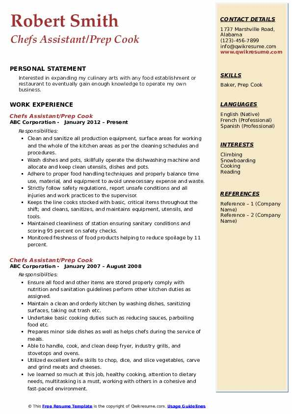 Chefs Assistant/Prep Cook Resume Format