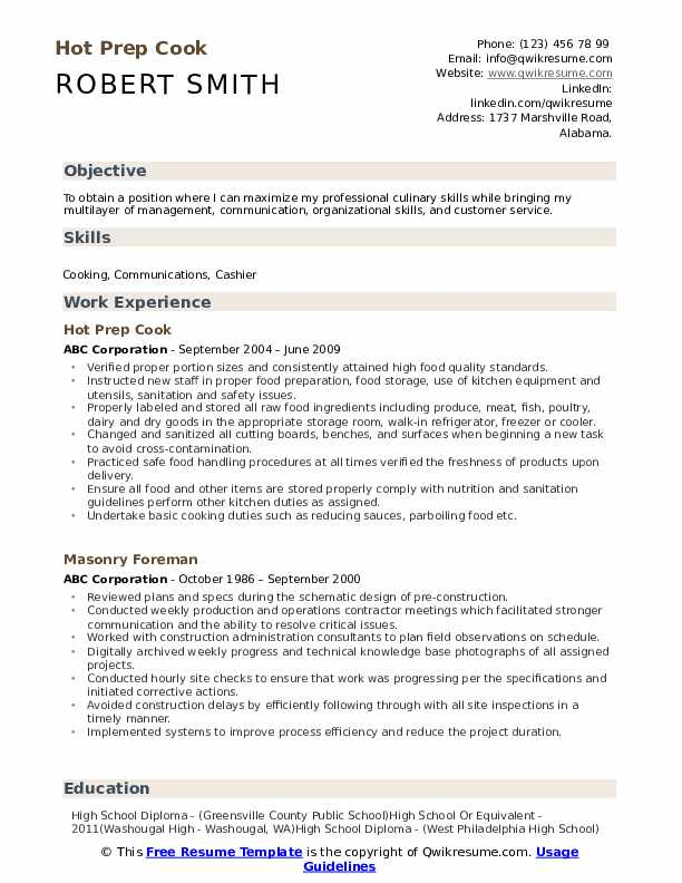 Hot Prep Cook Resume Template
