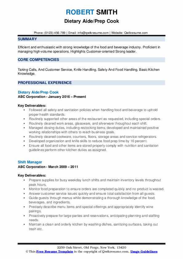 Dietary Aide/Prep Cook Resume Example