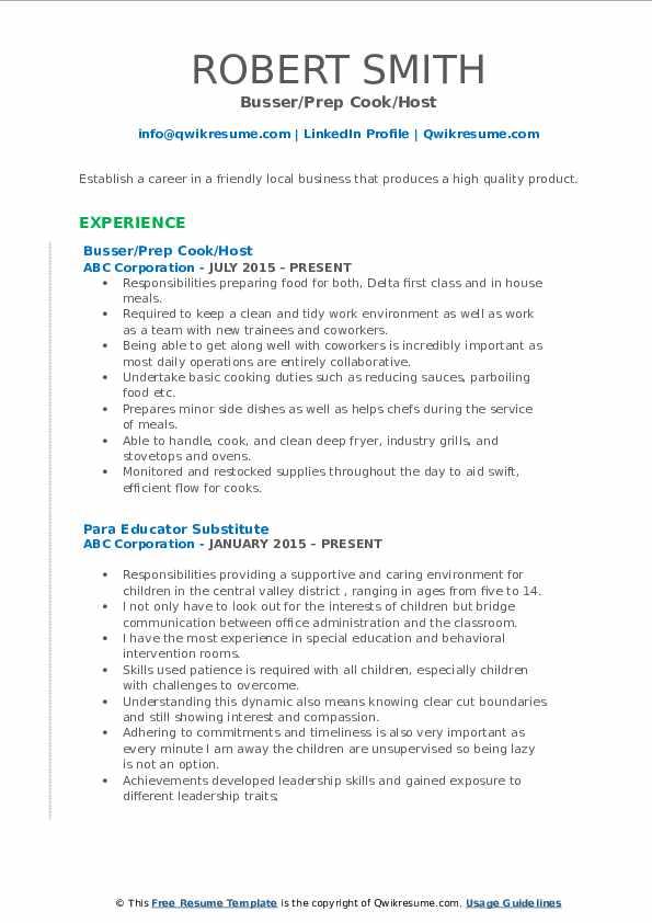 Busser/Prep Cook/Host Resume Format
