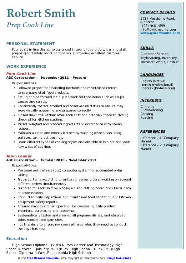 Prep Cook Line Resume Sample