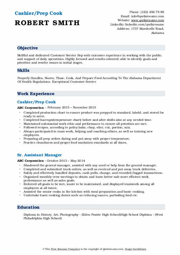 Cashier/Prep Cook Resume Model