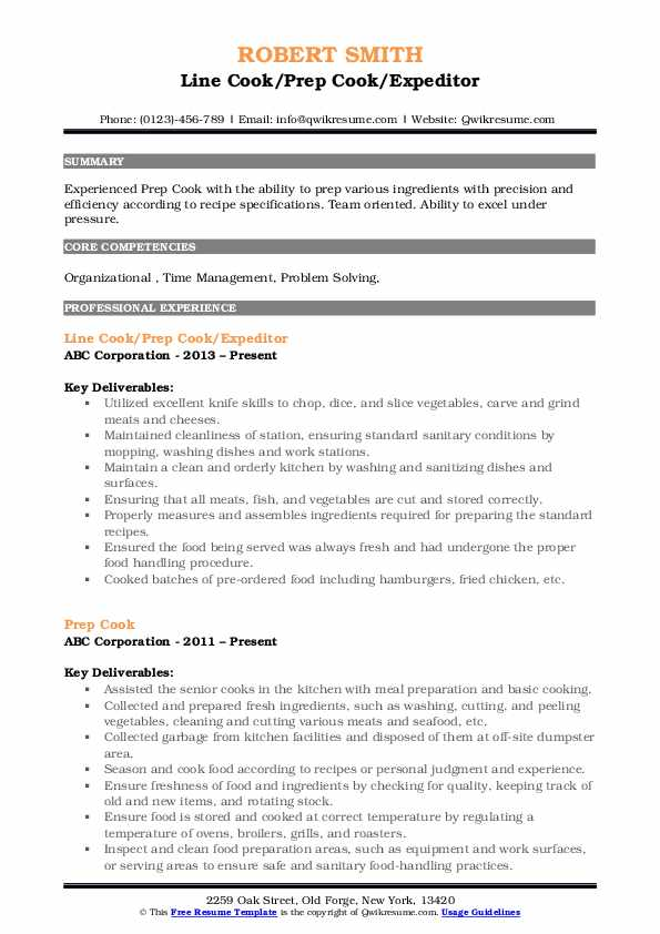 Line Cook/Prep Cook/Expeditor Resume Sample