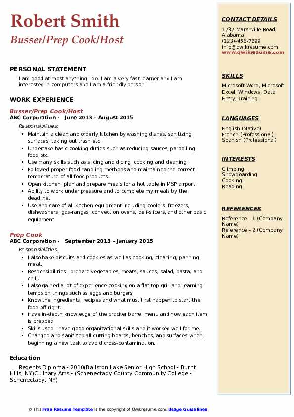 Busser/Prep Cook/Host Resume Sample