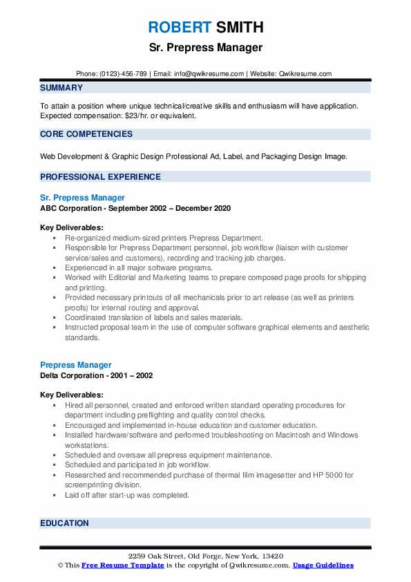 Prepress manager resume if you up to your ears with homework you
