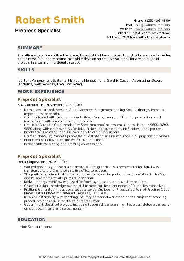 Prepress Specialist Resume example
