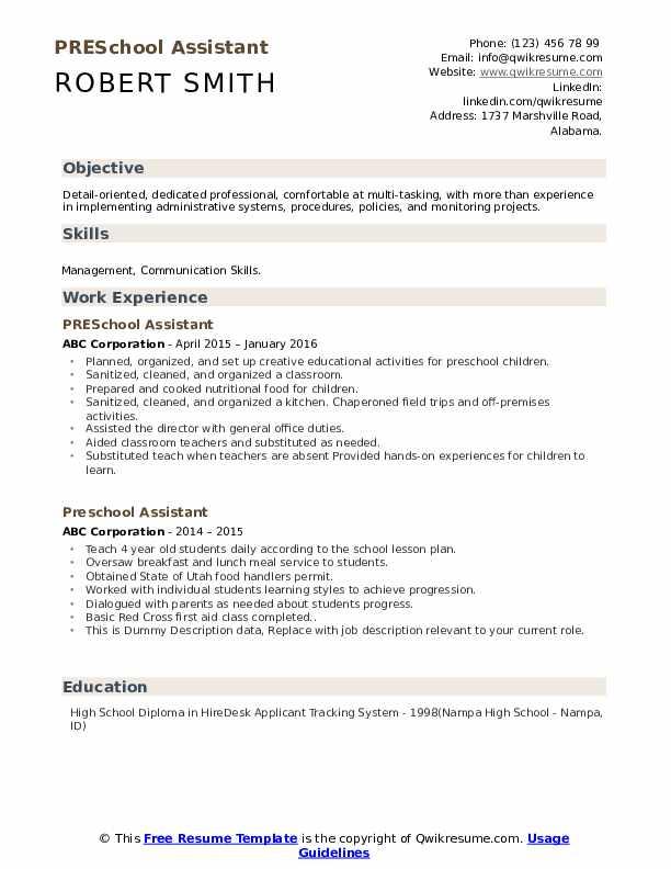 Preschool Assistant Resume example