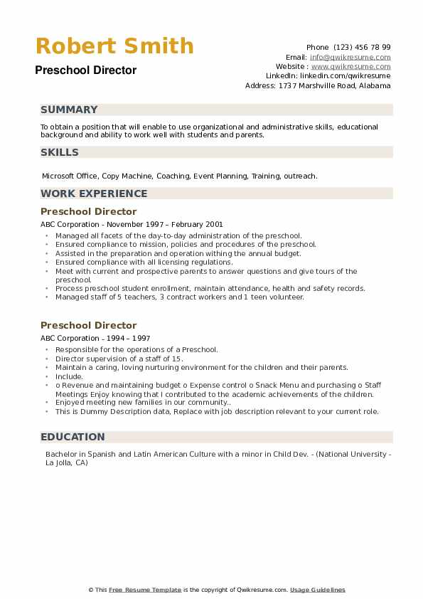 Preschool Director Resume example