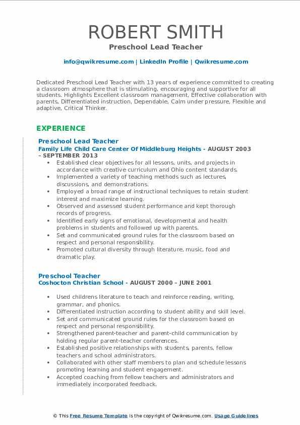 Preschool Lead Teacher Resume Format