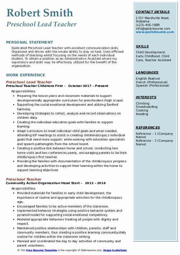 Preschool Lead Teacher Resume Example
