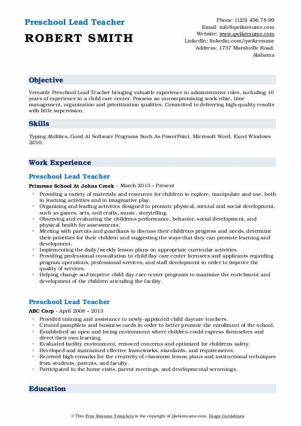 Preschool Lead Teacher Resume Model