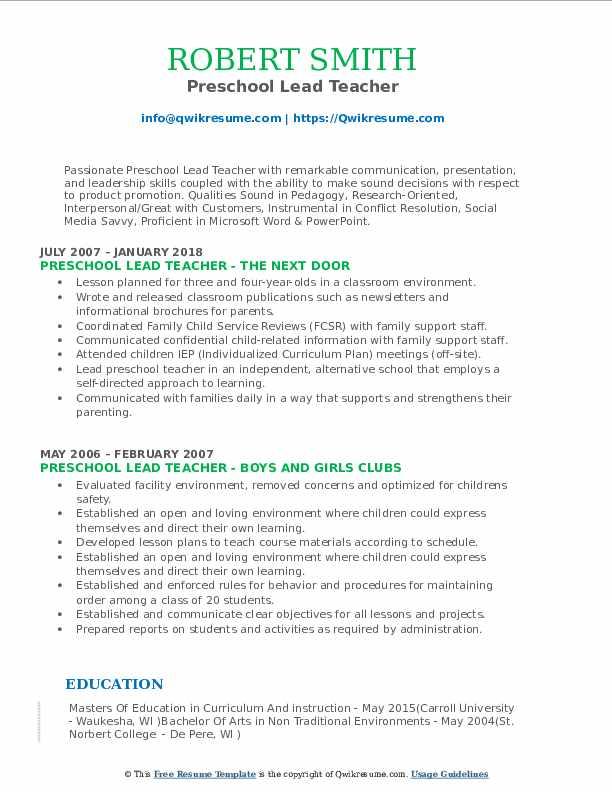 Preschool Lead Teacher Resume Sample