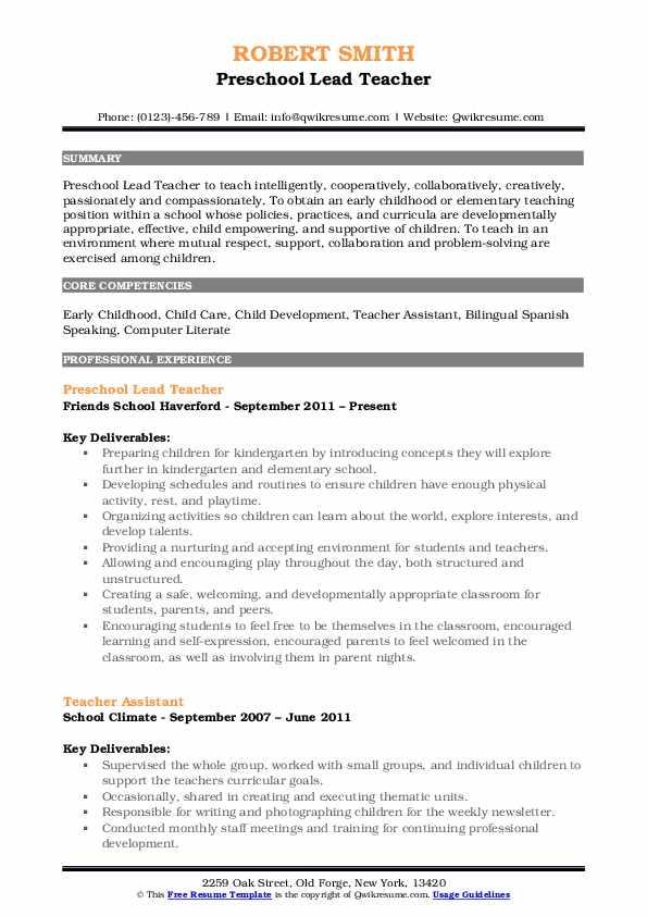 preschool lead teacher resume samples