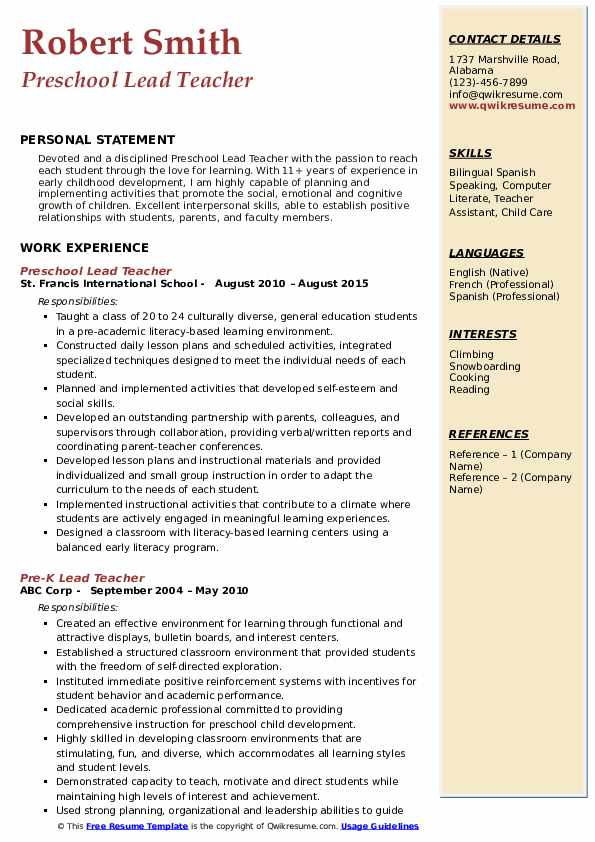 Preschool Lead Teacher Resume Samples Qwikresume