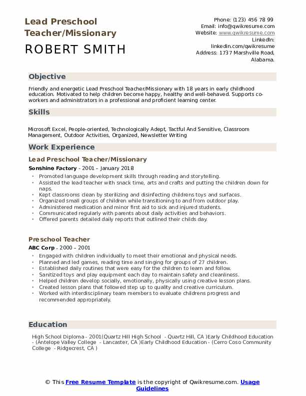preschool teacher resume samples