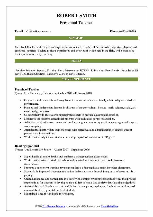 preschool teacher resume samples
