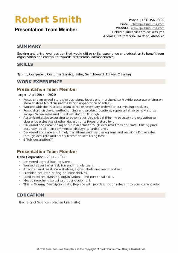 Presentation Team Member Resume example