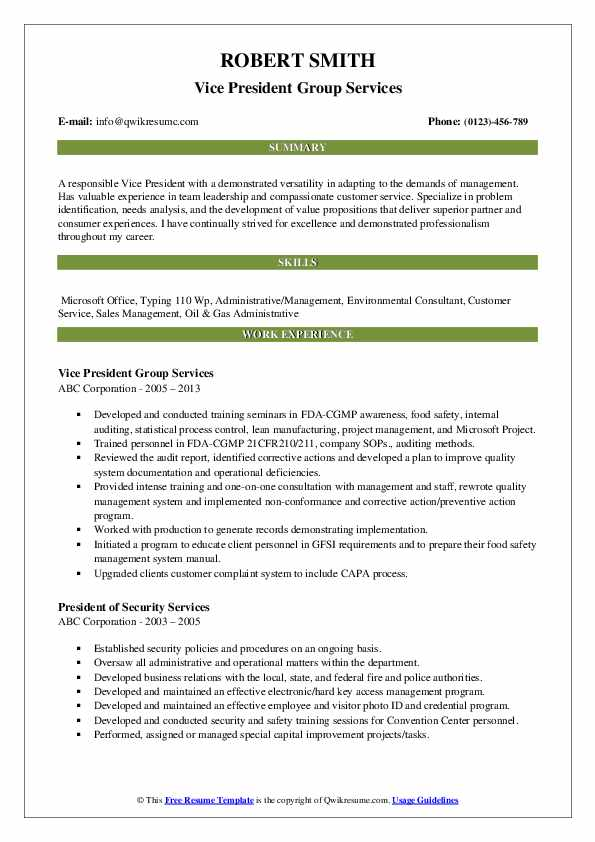 Vice President Group Services Resume Model