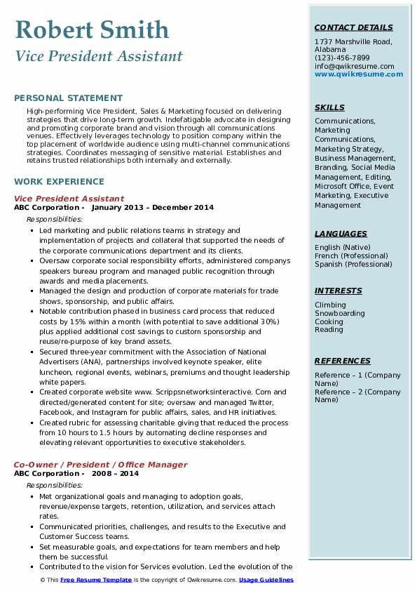 Vice President Assistant Resume Sample