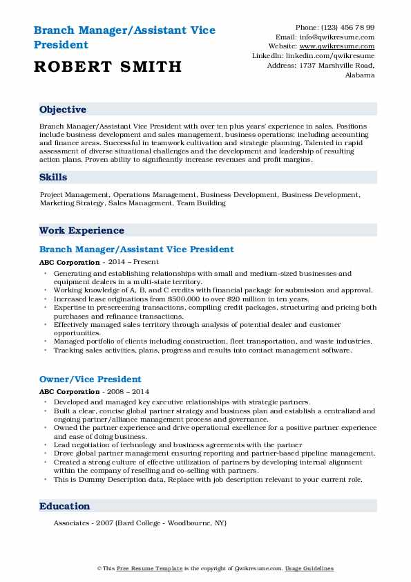 Branch Manager/Assistant Vice President Resume Sample